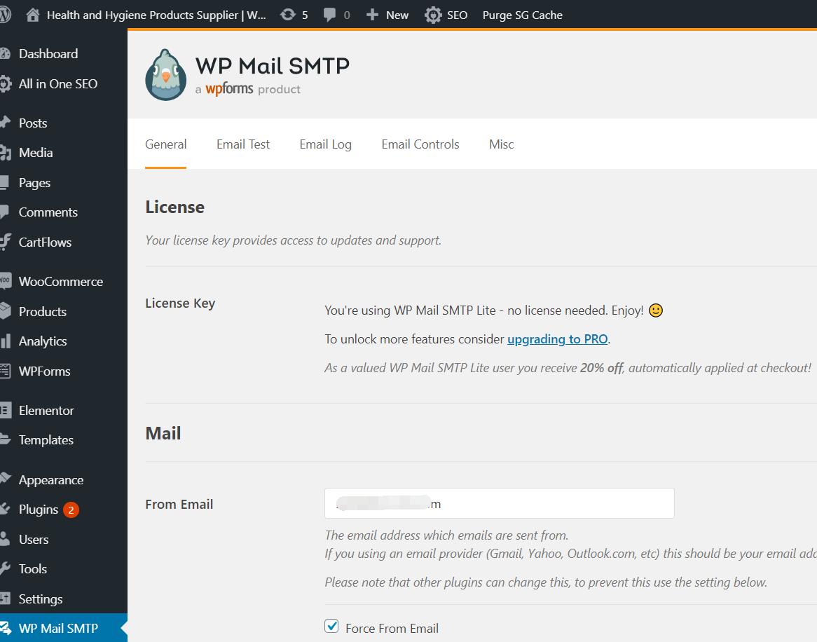 如何配置腾讯企业邮箱在Wordpress的wpforms插件里的WP Mail SMTP